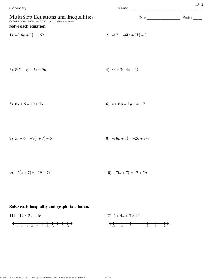 MultiStep Equations and Inequalities 3Setspdf – Solving and Graphing Inequalities Worksheet Pdf