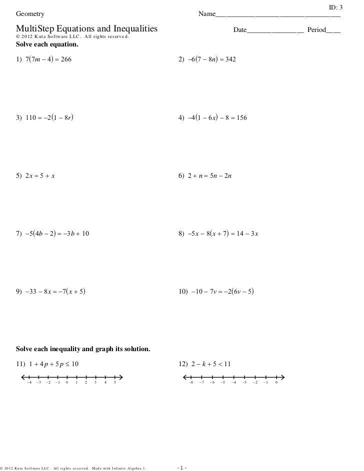 Multistep Equations And Inequalities 3sets Pdf