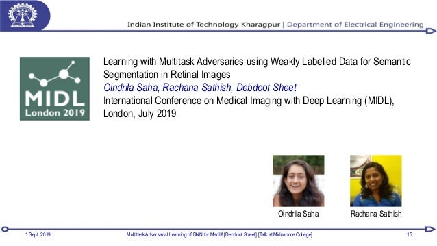 1 Sept. 2019 Multitask Adversarial Learning of DNN for MedIA [Debdoot Sheet] [Talk at Midnapore College] 15 Learning with ...