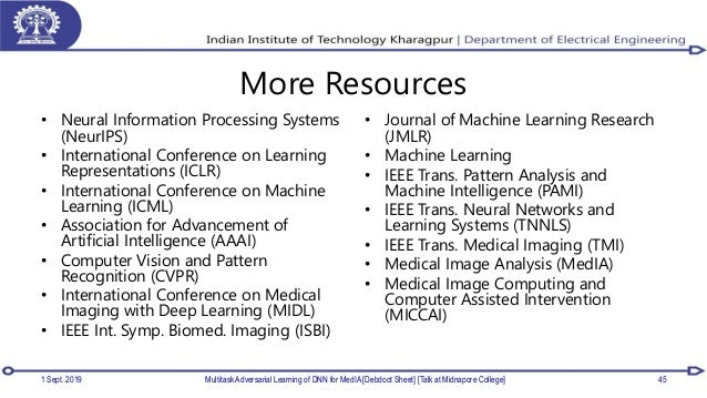 More Resources • Neural Information Processing Systems (NeurIPS) • International Conference on Learning Representations (I...