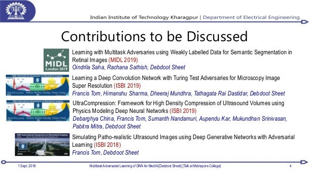 Contributions to be Discussed 1 Sept. 2019 Multitask Adversarial Learning of DNN for MedIA [Debdoot Sheet] [Talk at Midnap...