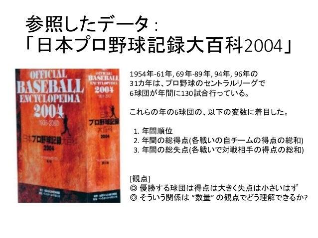 参照したデータ : 「日本プロ野球記録大百科2004」 1954年-61年, 69年-89年, 94年, 96年の 31カ年は、プロ野球のセントラルリーグで 6球団が年間に130試合行っている。 これらの年の6球団の、以下の変数に着目した。 1...