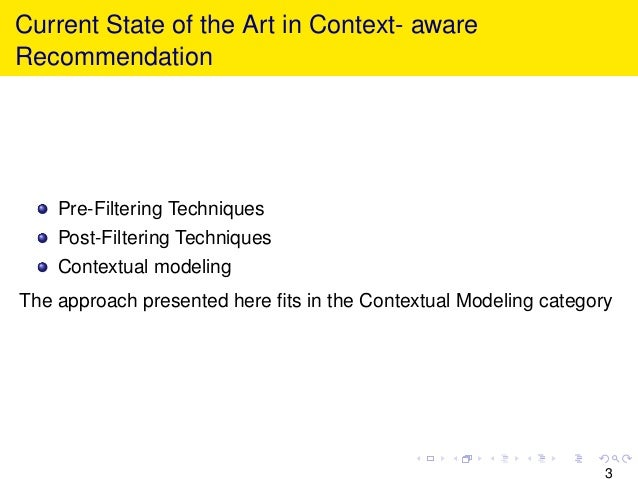 Current State of the Art in Context- aware Recommendation Pre-Filtering Techniques Post-Filtering Techniques Contextual mo...