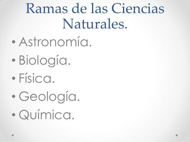 Ramas de las Ciencias Naturales. • Astronomía. • Biología. • Física. • Geología. • Química.