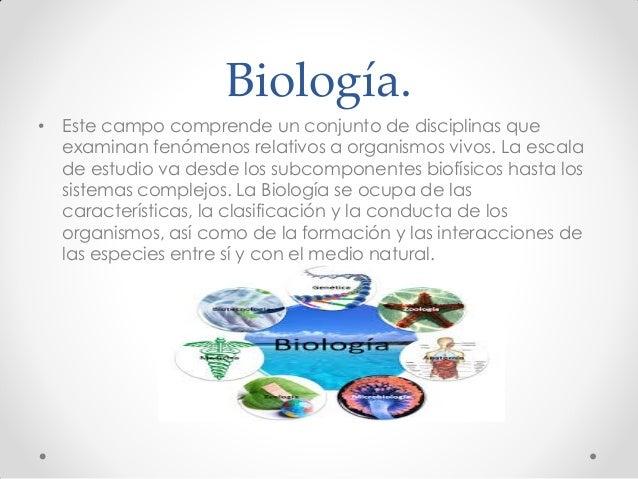 Biología. • Este campo comprende un conjunto de disciplinas que examinan fenómenos relativos a organismos vivos. La escala...