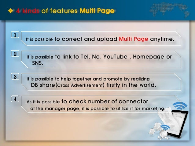 ❖ 4 kinds of features Multi Page It is possible to correct and upload Multi Page anytime. It is possible to link to Tel. N...