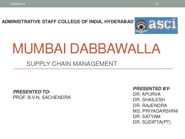 2/24/2013                                           1ADMINISTRATIVE STAFF COLLEGE OF INDIA, HYDERABAD   MUMBAI DABBAWALLA ...