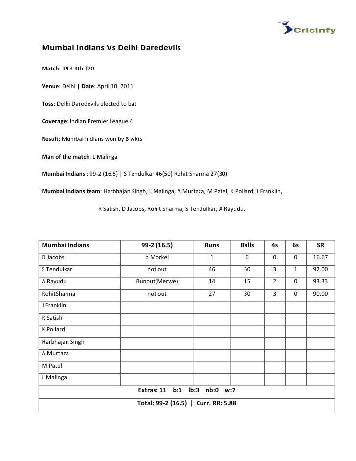 Mumbai Indians Vs Delhi DaredevilsMatch: IPL4 4th T20Venue: Delhi   Date: April 10, 2011Toss: Delhi Daredevils elected to ...