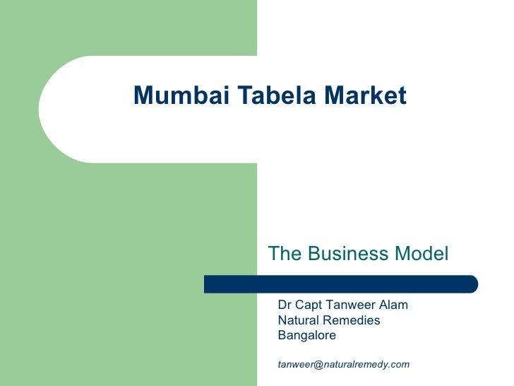 Mumbai Tabela Market The Business Model Dr Capt Tanweer Alam Natural Remedies Bangalore [email_address]