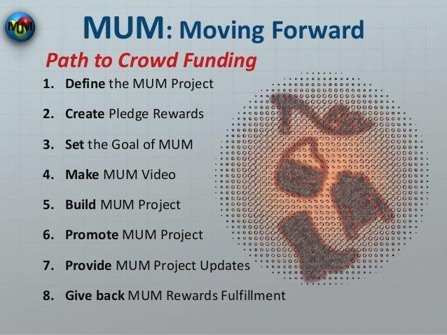 MUM: Moving Forward 1. Define the MUM Project 2. Create Pledge Rewards 3. Set the Goal of MUM 4. Make MUM Video 5. Build M...