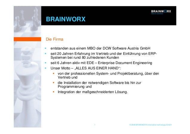1 © 2008 BRAINWORX information technology GmbH BRAINWORX entstanden aus einem MBO der DCW Software Austria GmbH seit 20 Ja...