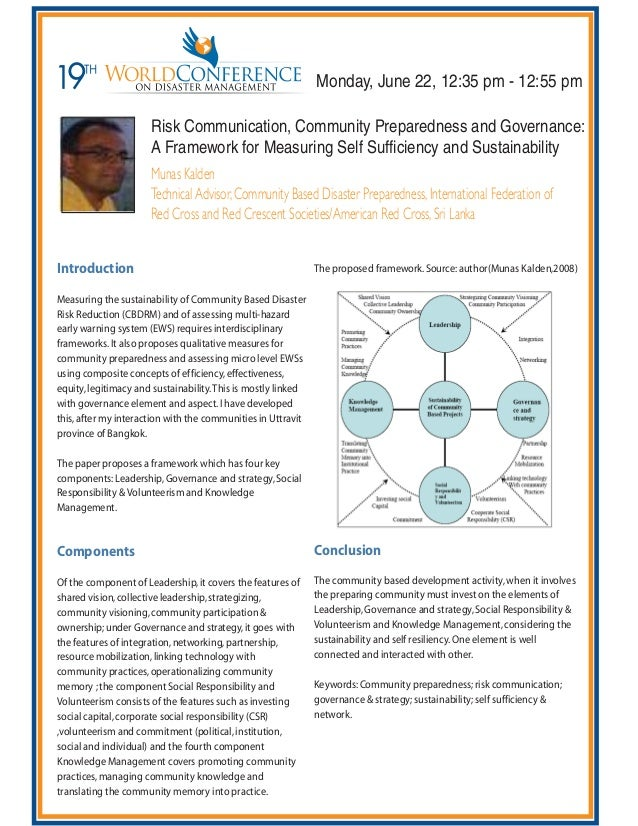 Risk Communication, Community Preparedness and Governance: A Framework for Measuring Self Sufficiency and Sustainability M...