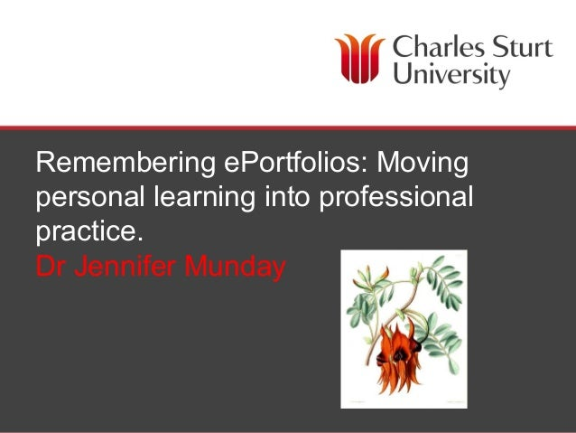 Remembering ePortfolios: Moving personal learning into professional practice. Dr Jennifer Munday  Faculty of Education