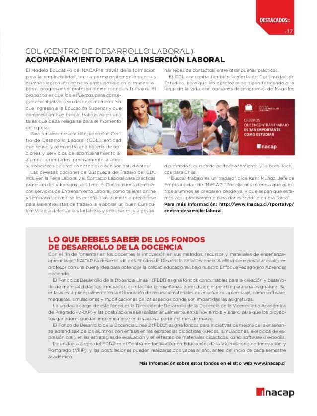 destacados:: p  17  CDL (centro de desarrollo laboral) acompañamiento para la inserción laboral El Modelo Educativo de INA...