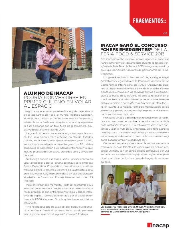"""fragmentos:: p  03  INACAP ganó el Concurso """"Chefs Emergentes"""" de la Feria Food & Service 2013  Alumno de INACAP podría co..."""