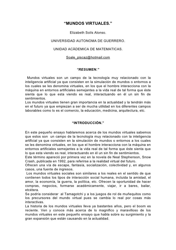 """""""MUNDOS VIRTUALES.""""                              Elizabeth Solís Alonso.                  UNIVERSIDAD AUTONOMA DE GUERRERO..."""