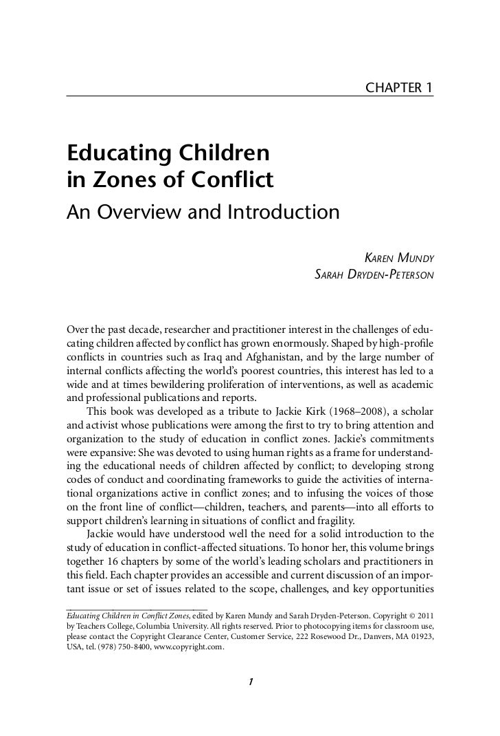 CHAPTER 1Educating Childrenin Zones of ConflictAn Overview and Introduction                                                ...