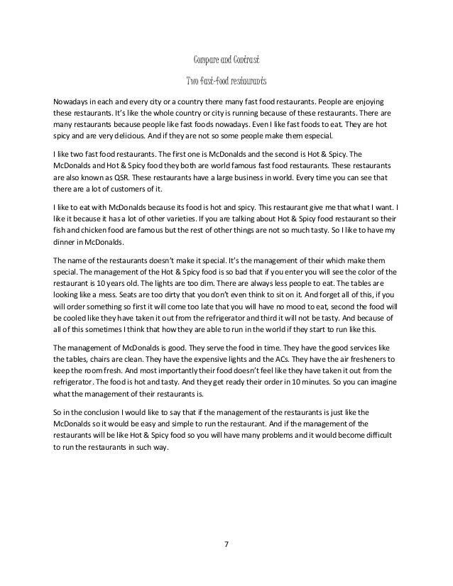 restaurant comparison essay