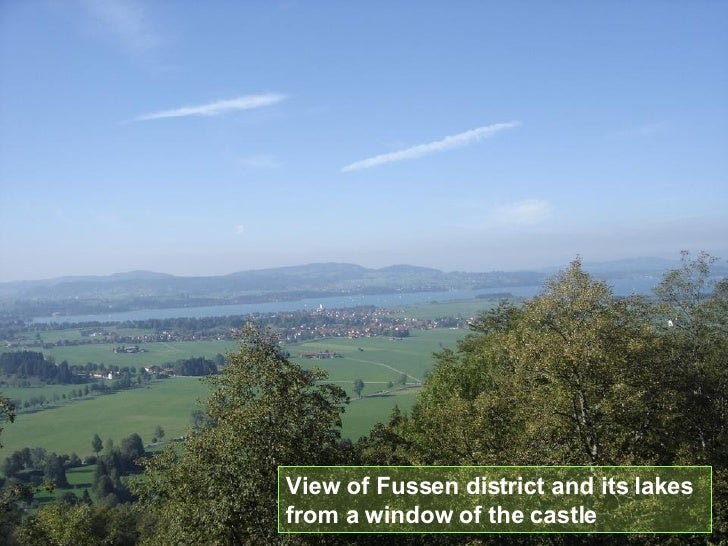 View of Fussen district and its lakes from a window of the castle
