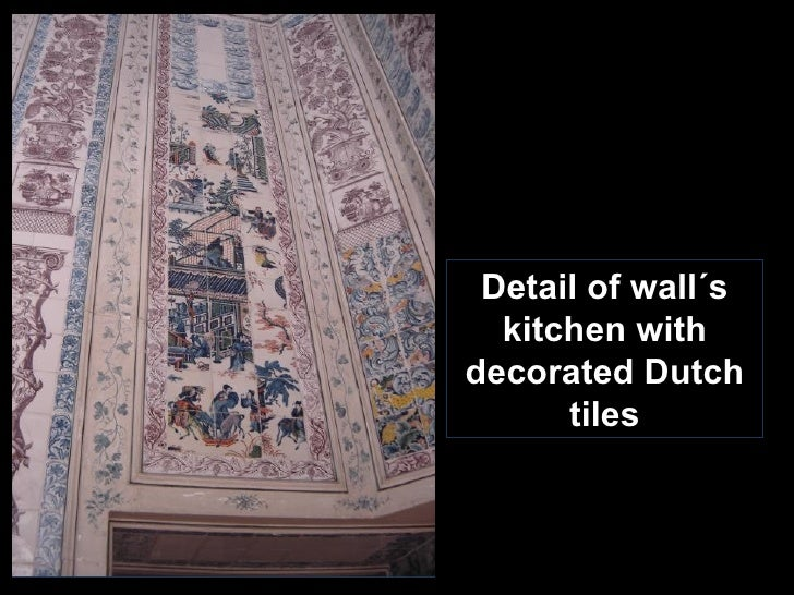 Detail of wall´s kitchen with decorated Dutch tiles
