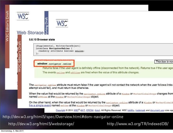 http://dev.w3.org/html5/spec/Overview.html#dom-navigator-online       http://dev.w3.org/html5/webstorage/             http...