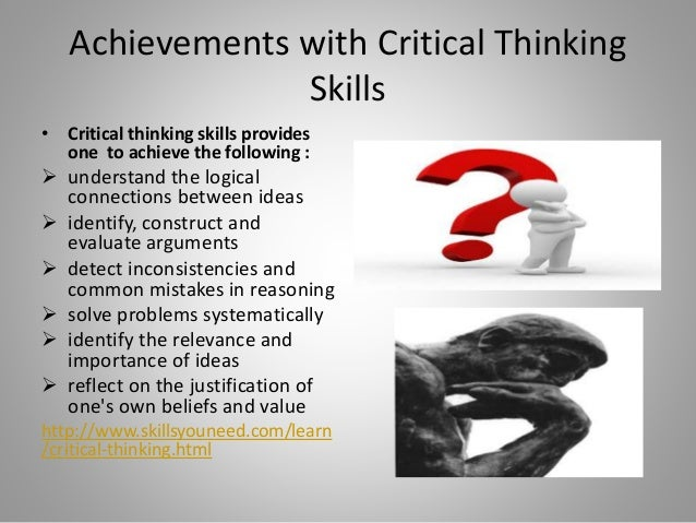 critical thinking in mathematics Students' critical thinking in mathematics was a concern for grade 5 through 8 teachers at a title 1 public school in the northeastern united states because of the students' poor performance on constructed response questions on the state's mathematics exam.