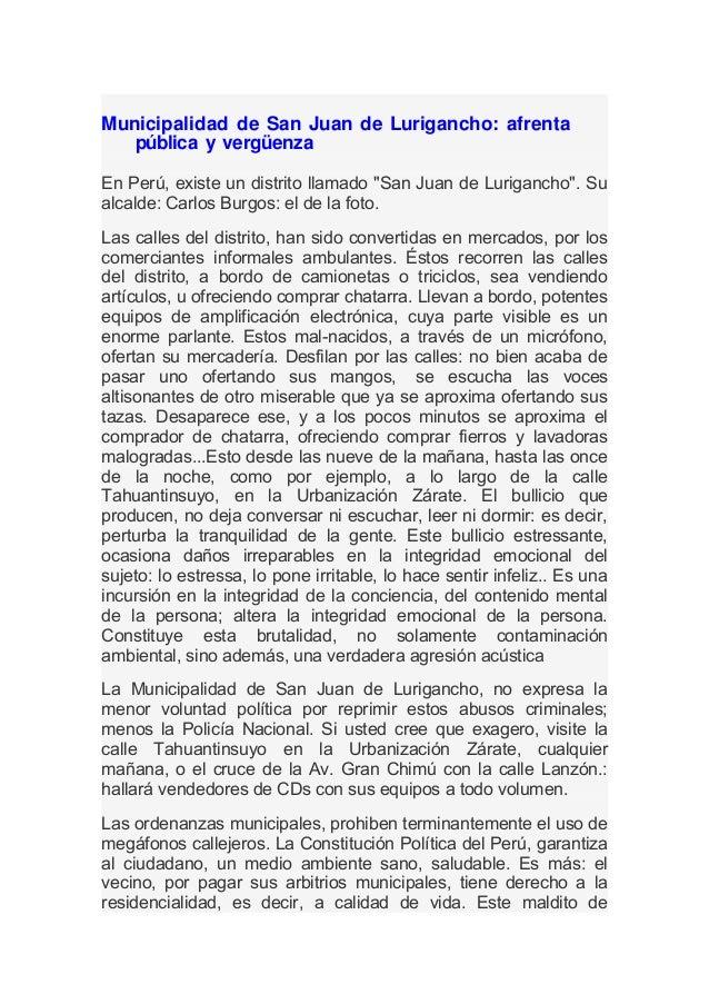 """Municipalidad de San Juan de Lurigancho: afrenta   pública y vergüenzaEn Perú, existe un distrito llamado """"San Juan de Lur..."""