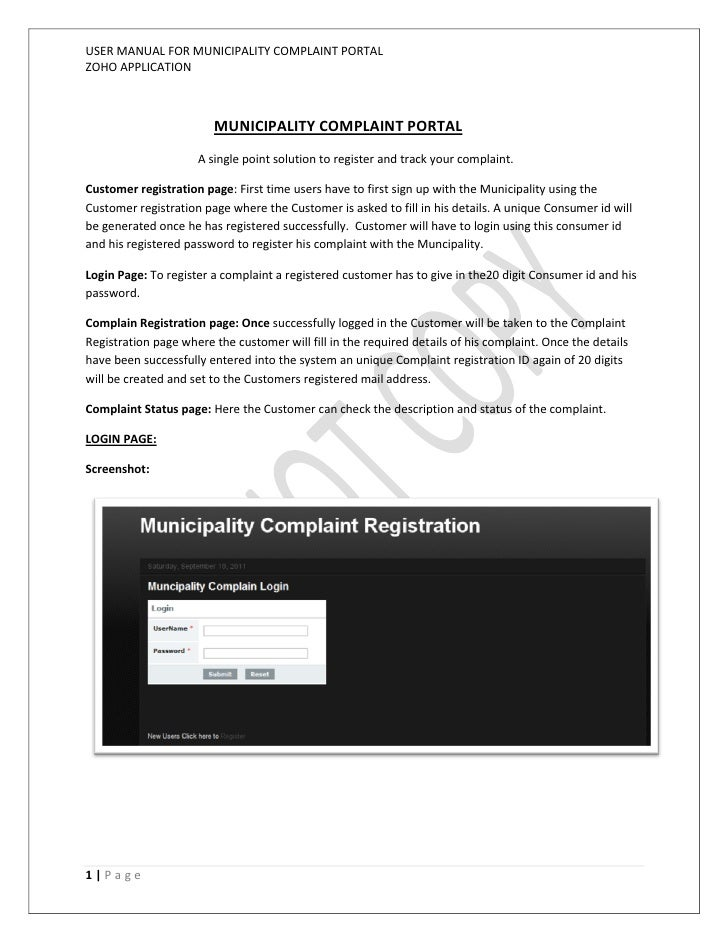 USER MANUAL FOR MUNICIPALITY COMPLAINT PORTALZOHO APPLICATION                        MUNICIPALITY COMPLAINT PORTAL        ...