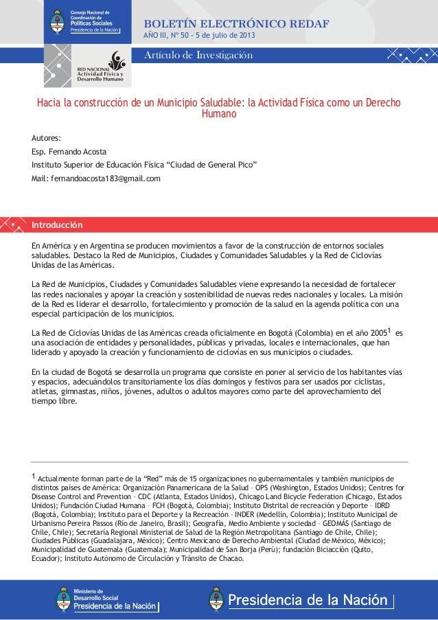 Hacia la construcción de un Municipio Saludable: la Actividad Física como un Derecho Humano Autores: Esp. Fernando Acosta ...
