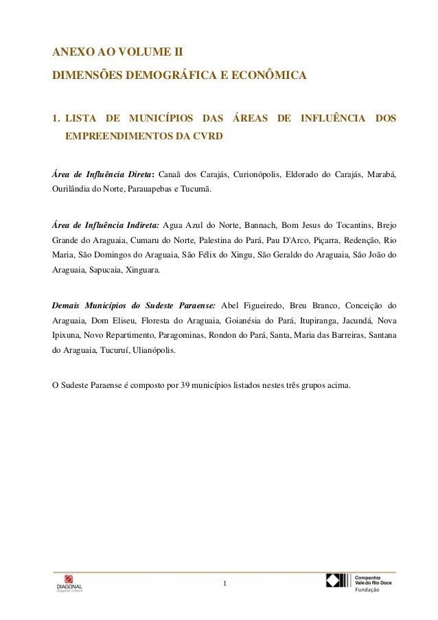 1 ANEXO AO VOLUME II DIMENSÕES DEMOGRÁFICA E ECONÔMICA 1. LISTA DE MUNICÍPIOS DAS ÁREAS DE INFLUÊNCIA DOS EMPREENDIMENTOS ...
