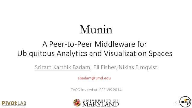 A Peer-to-Peer Middleware for Ubiquitous Analytics and Visualization Spaces Sriram Karthik Badam, Eli Fisher, Niklas Elmqv...