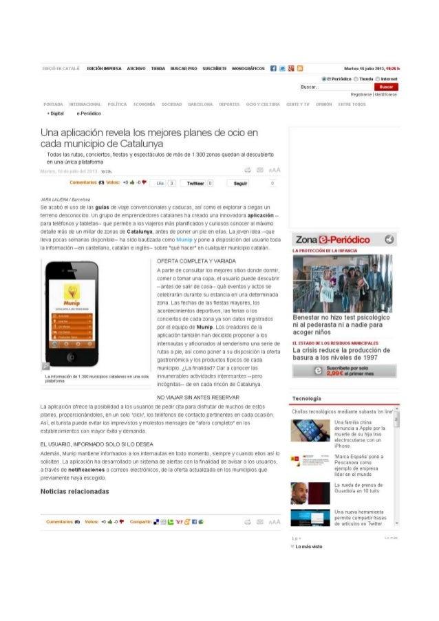 """Noticia de Munip a """"El Periódico"""". Hacer turismo en Cataluñá ahora es más fácil"""