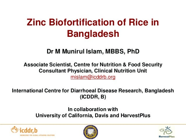 Zinc Biofortification of Rice in Bangladesh Dr M Munirul Islam, MBBS, PhD Associate Scientist, Centre for Nutrition & Food...