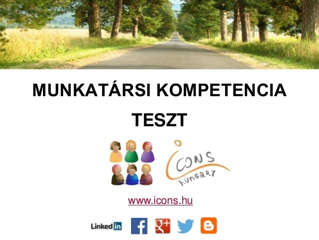 MUNKATÁRSI KOMPETENCIA TESZT www.icons.hu