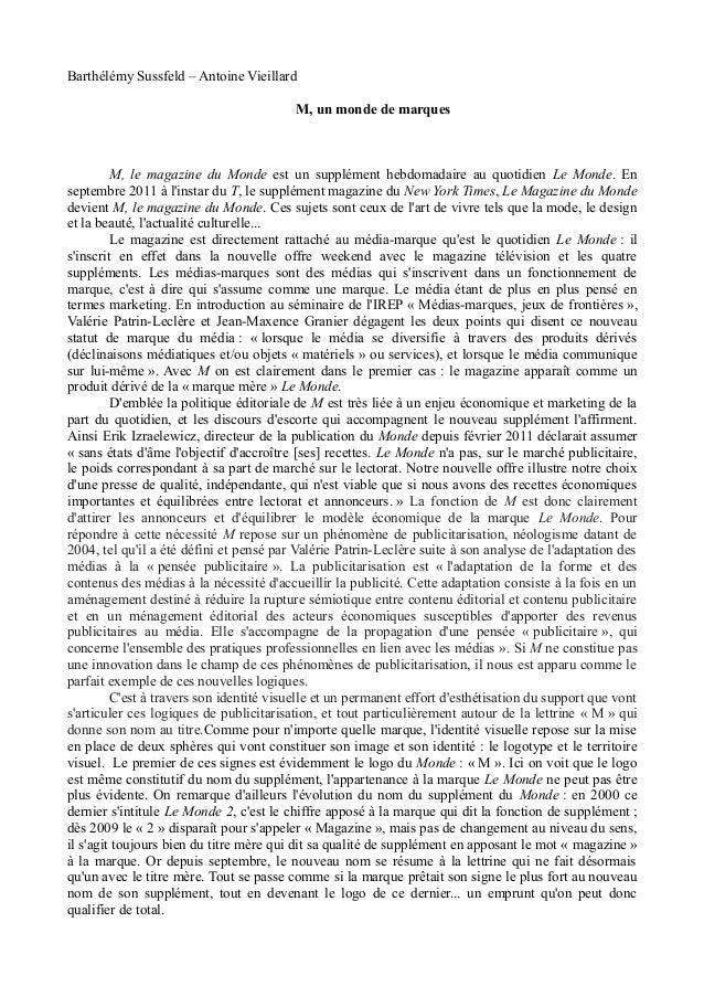 Barthélémy Sussfeld – Antoine Vieillard                                          M, un monde de marques         M, le maga...