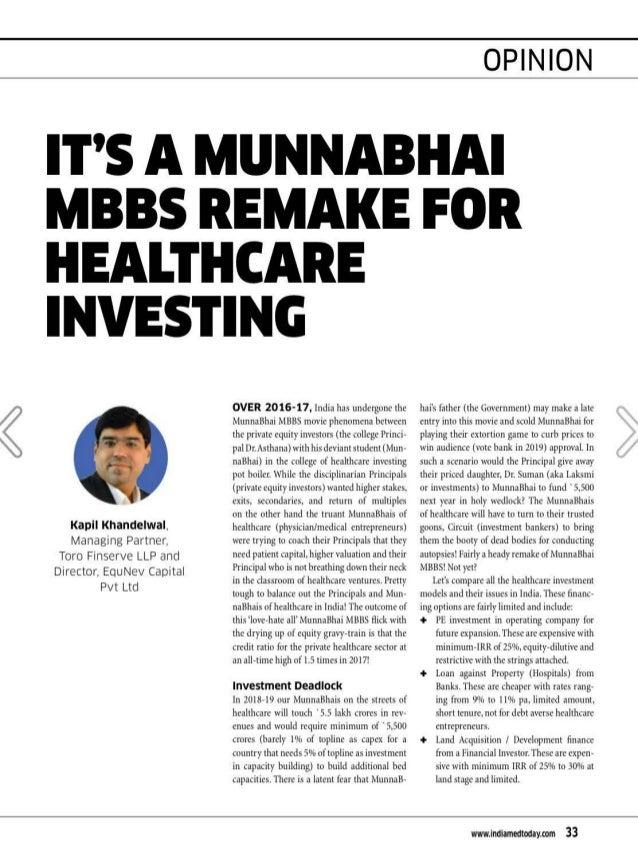 ' Kapil Khandelwal. Managing Partner. Toro Finserve LLP and Director. EquNev Capital Pvt Ltd OVER 2016-17, India has under...