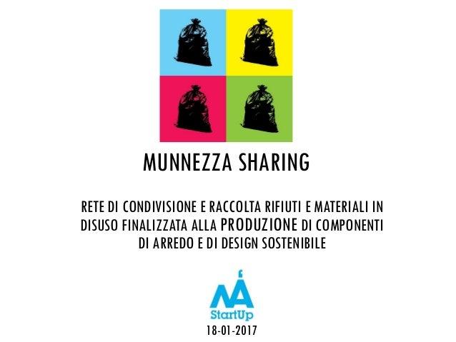 MUNNEZZA SHARING RETE DI CONDIVISIONE E RACCOLTA RIFIUTI E MATERIALI IN DISUSO FINALIZZATA ALLA PRODUZIONE DI COMPONENTI D...