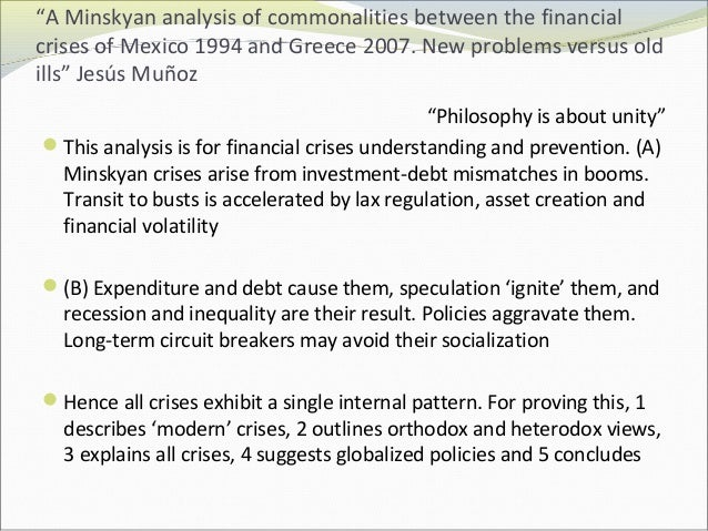 """""""A Minskyan analysis of commonalities between the financial  crises of Mexico 1994 and Greece 2007. New problems versus ol..."""