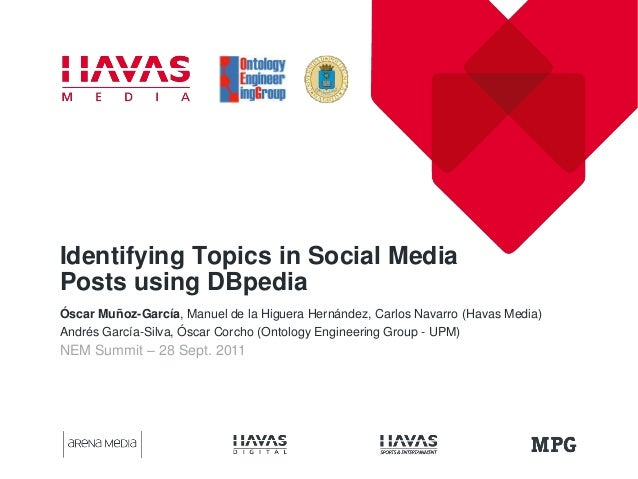NEM Summit – 28 Sept. 2011Identifying Topics in Social MediaPosts using DBpediaÓscar Muñoz-García, Manuel de la Higuera He...