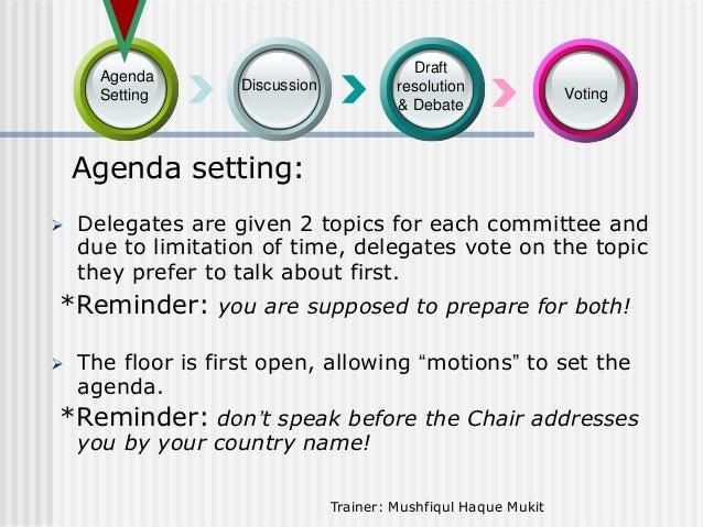 Agenda Setting  Draft resolution & Debate  Discussion  Voting  Agenda setting:   Delegates are given 2 topics for each co...