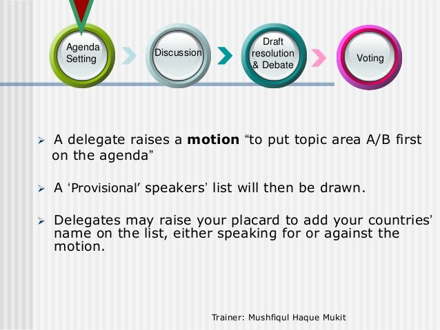 """Agenda Setting  Discussion  Draft resolution & Debate  Voting    A delegate raises a motion """"to put topic area A/B first ..."""