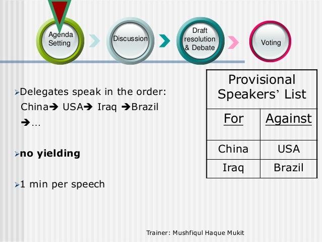 Agenda Setting  Delegates  Discussion  speak in the order:  China USA Iraq Brazil  Draft resolution & Debate  Voting  ...
