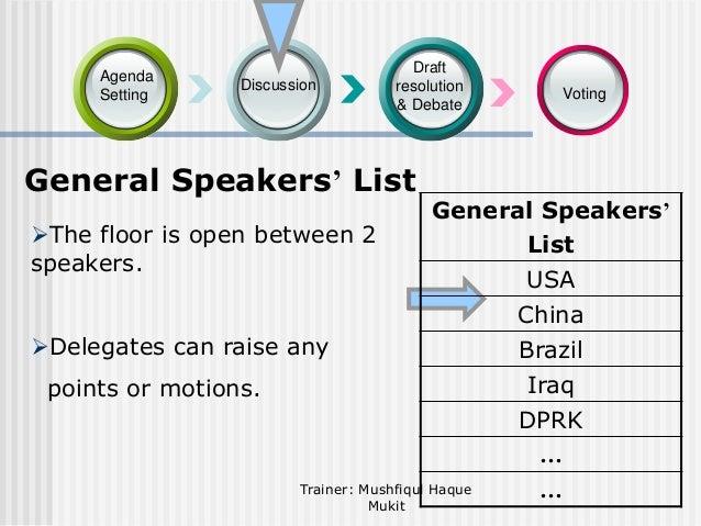 Agenda Setting  Discussion  Draft resolution & Debate  General Speakers' List The floor is open between 2 speakers.  Voti...