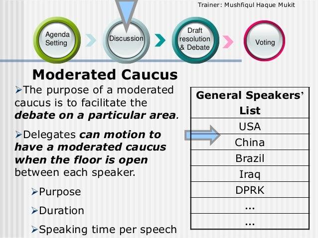 Trainer: Mushfiqul Haque Mukit  Agenda Setting  Discussion  Draft resolution & Debate  Voting  Moderated Caucus The purpo...