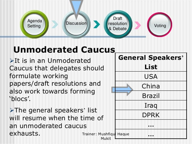 Agenda Setting  Draft resolution & Debate  Discussion  Unmoderated Caucus It is in an Unmoderated Caucus that delegates s...