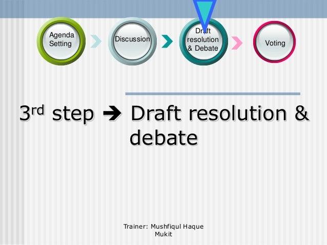 Agenda Setting  Discussion  Draft resolution & Debate  Voting  3rd step  Draft resolution & debate  Trainer: Mushfiqul Ha...