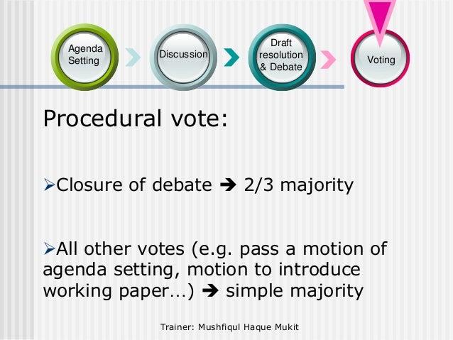 Agenda Setting  Discussion  Draft resolution & Debate  Voting  Procedural vote: Closure of debate  2/3 majority All oth...