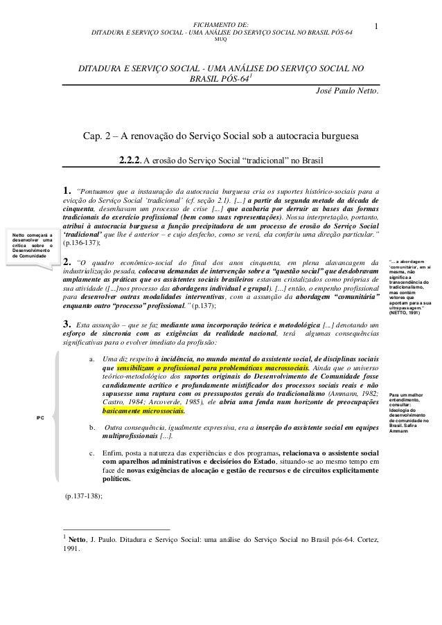 FICHAMENTO DE: DITADURA E SERVIÇO SOCIAL - UMA ANÁLISE DO SERVIÇO SOCIAL NO BRASIL PÓS-64 MUQ 1 IPC DITADURA E SERVIÇO SOC...