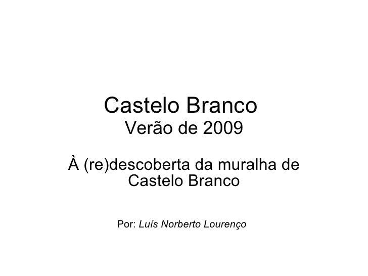 Castelo Branco  Verão de 2009 À (re)descoberta da muralha de Castelo Branco Por:  Luís Norberto Lourenço