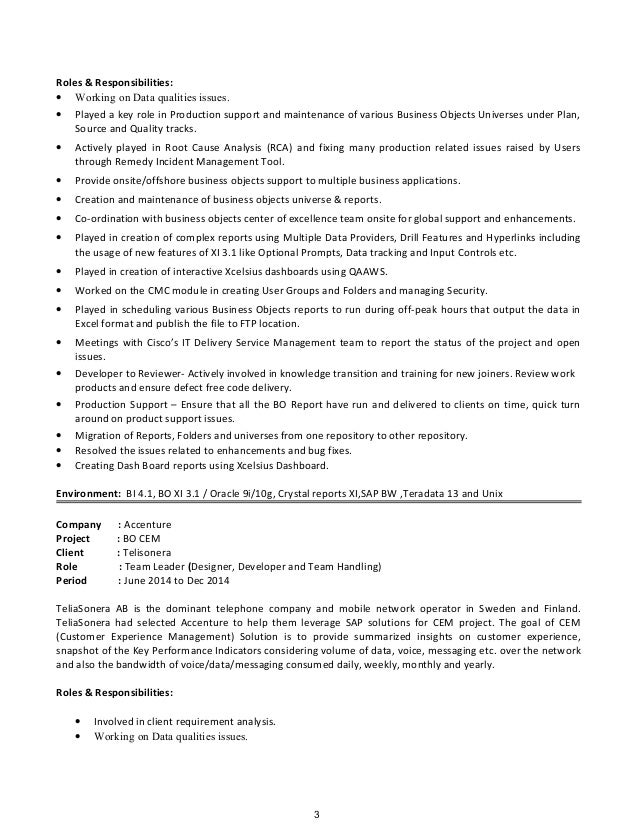 2 3 - Business Object Resume